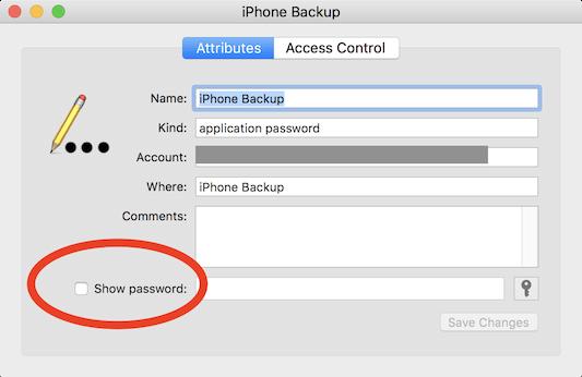 show iPhone backup password