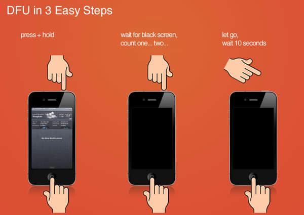 entrer en mode dfu fixant le chargement de l'iphone après la mise à jour