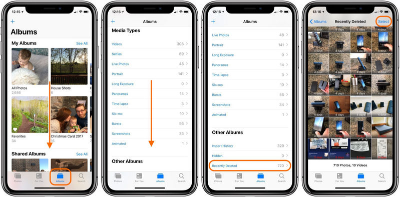 How to delete photos from my iphone x