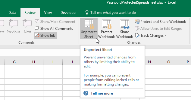 how do i unprotect a workbook in excel