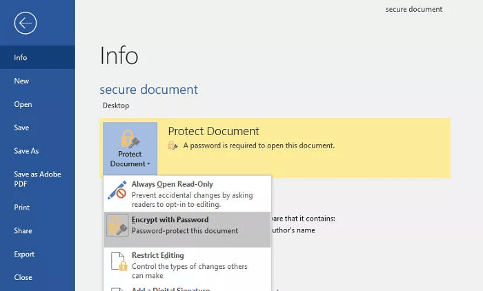 how to open a password encrypted word document