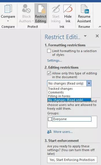 locking a microsoft word document
