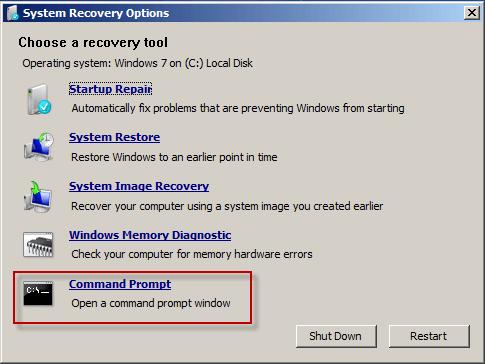 how to reset windows 7 password command prompt