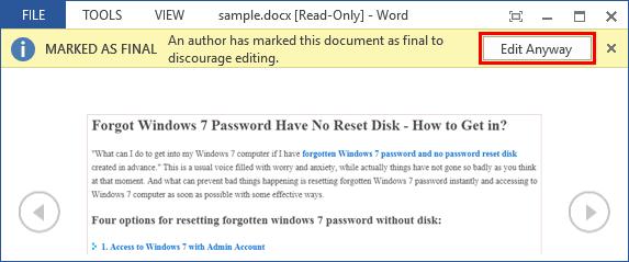 forgot word doc password