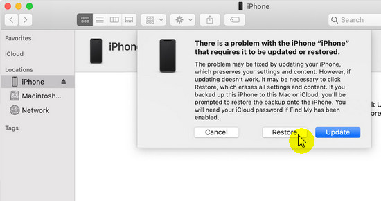 restore iphone without updating firmware